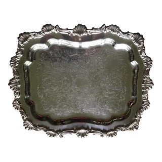 Silver on Copper Gorgeous Scalloped Rim Footed Tray
