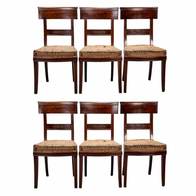 Early 19th Century Newly Upholstered French First Empire Dining Chairs - Set of 6 - Image 1 of 8