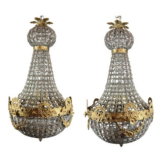 French Floral Gold Detail Louis XVI/Renaissance Style Chandeliers - a Pair For Sale