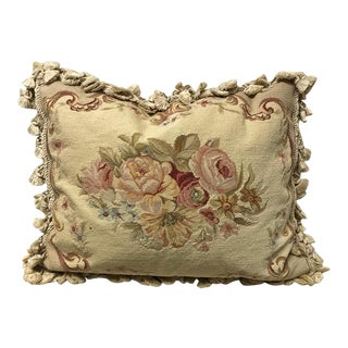 Down Filled Needlepoint Pillow For Sale