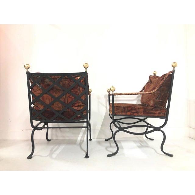 Hollywood Regency Pair of Italian Hollywood Regency Savonarola Chairs For Sale - Image 3 of 8