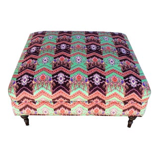 Multi-colored Italian Cotton Velvet Ottoman For Sale