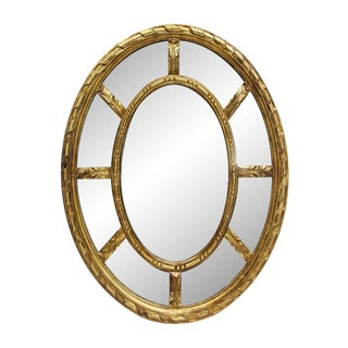 European Gilded Oval Wall Mirror For Sale