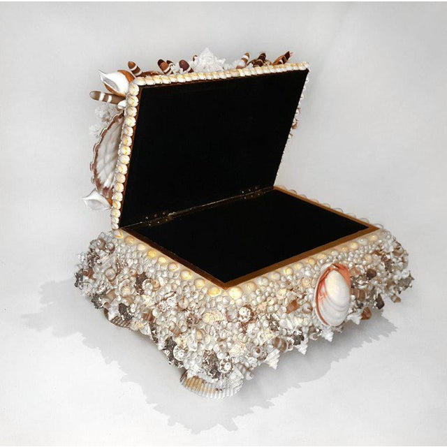 Handmade Exotic Sea Shell Encrusted Large Scale Jewelry Box For Sale - Image 4 of 5
