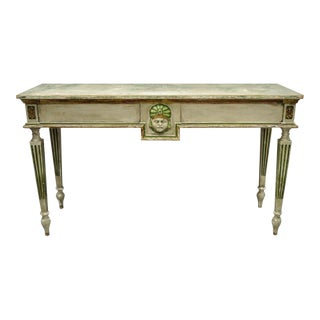 French Neoclassical Continental Distress Painted Figural Console Table For Sale