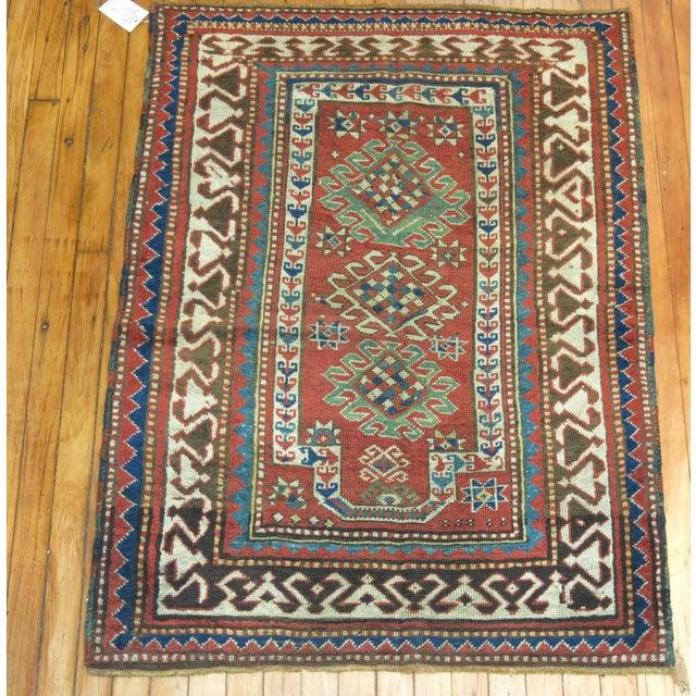 Antique Caucasian Kazak Rug- 3' x 4'3'' - Image 3 of 7