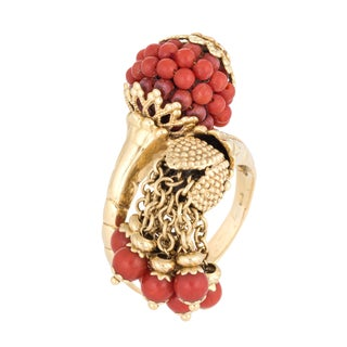 Mediterranean Coral Charm Ring 18k Yellow Gold Bypass 9 For Sale