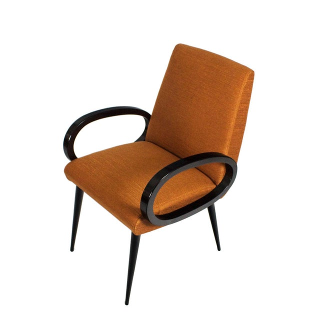 1950s Pair of Bridge Armchairs, Oval Arms, Stained Beech, Fibreguard, France For Sale - Image 6 of 9