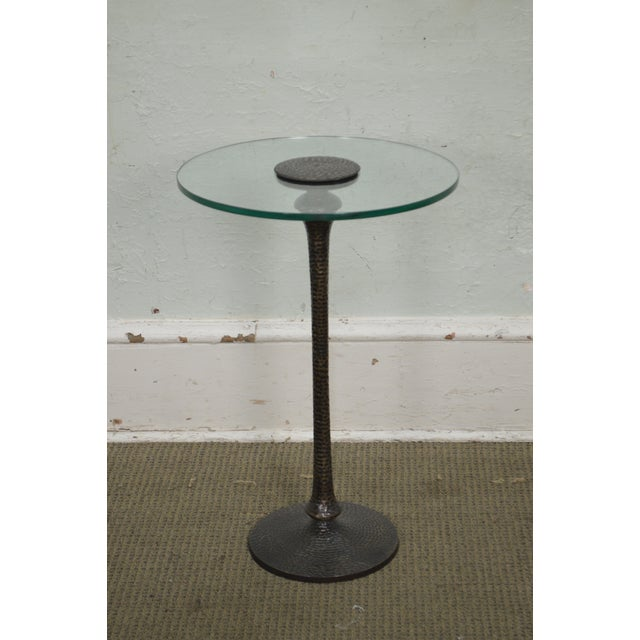 STORE ITEM #: 15844 Hammered Brass Round Glass Top Pedestal Side Table AGE/COUNTRY OF ORIGIN - Approx 20 years, America...