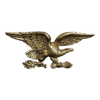 Vintage Federal Style Gold Metal Eagle Wall Mantle Plaque Picture For Sale