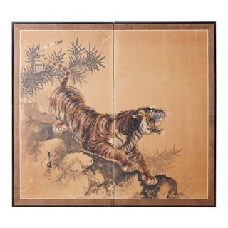 Japanese Showa Two-Panel Screen Tiger and Bamboo For Sale
