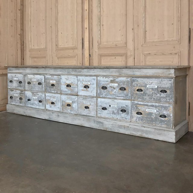 Grand 19th Century Apothecary Store Counter was salvaged from what today would be a pharmacy. Hand-crafted on a custom...