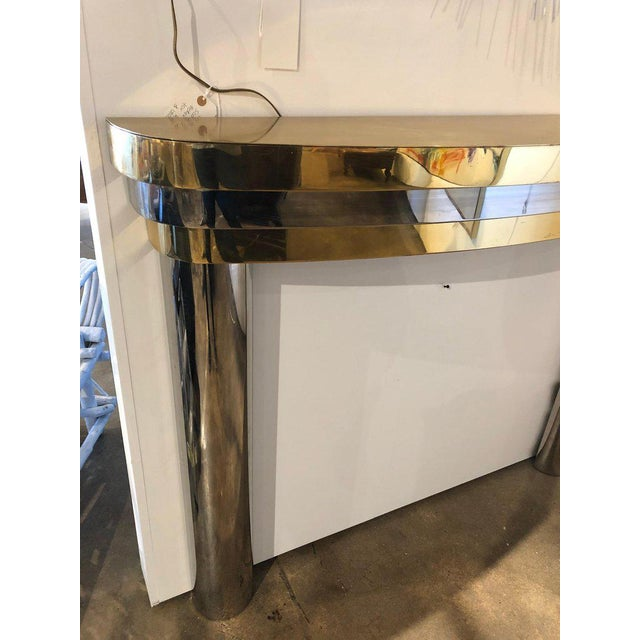 1960s Mid-Century Brass and Chrome Fireplace Mantel For Sale - Image 5 of 7