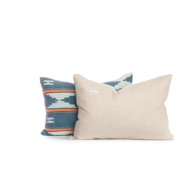 African Vintage Blue Ikat Pillows - A Pair For Sale - Image 3 of 3