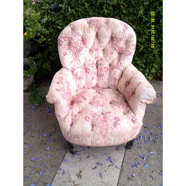 Victorian French Tufted Chair For Sale - Image 4 of 5