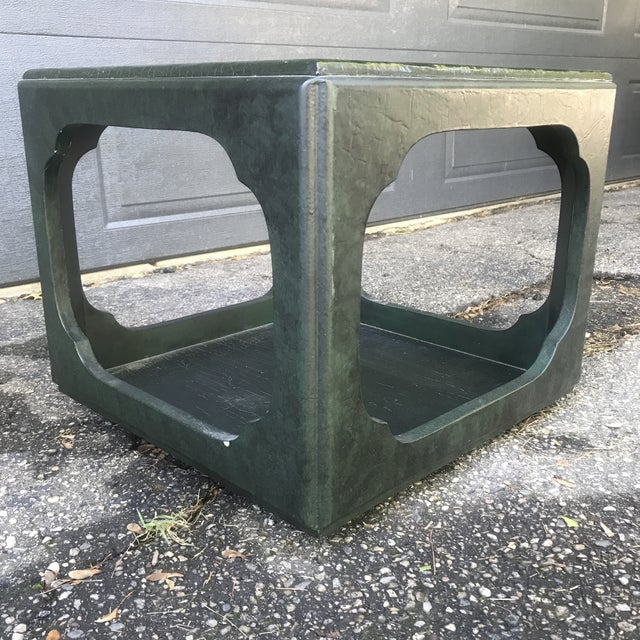 Mid 20th Century Chinoiserie Green Painted Cube Accent Table by Baker Furniture For Sale - Image 5 of 7