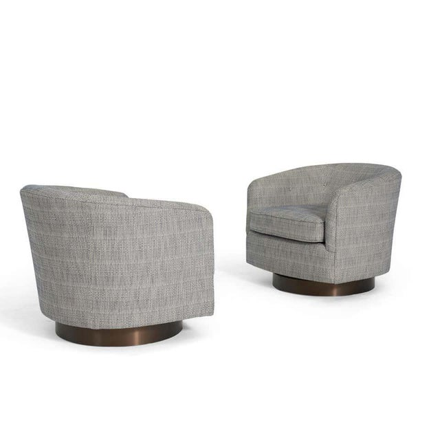 Milo Baughman Milo Baughman Swivel Chairs on Bronze Bases- A Pair For Sale - Image 4 of 6
