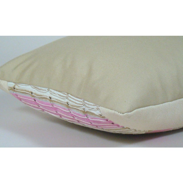 Canvas African Boho Chic Handwoven Aso Oke Khaki and Pink Cotton Pillow Cover For Sale - Image 7 of 11