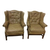 Image of Leather Wingback Chairs- a Pair For Sale