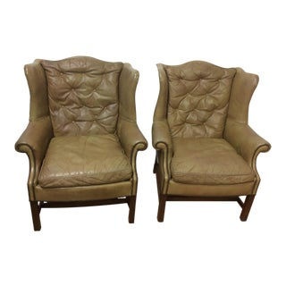 Leather Wingback Chairs- a Pair For Sale