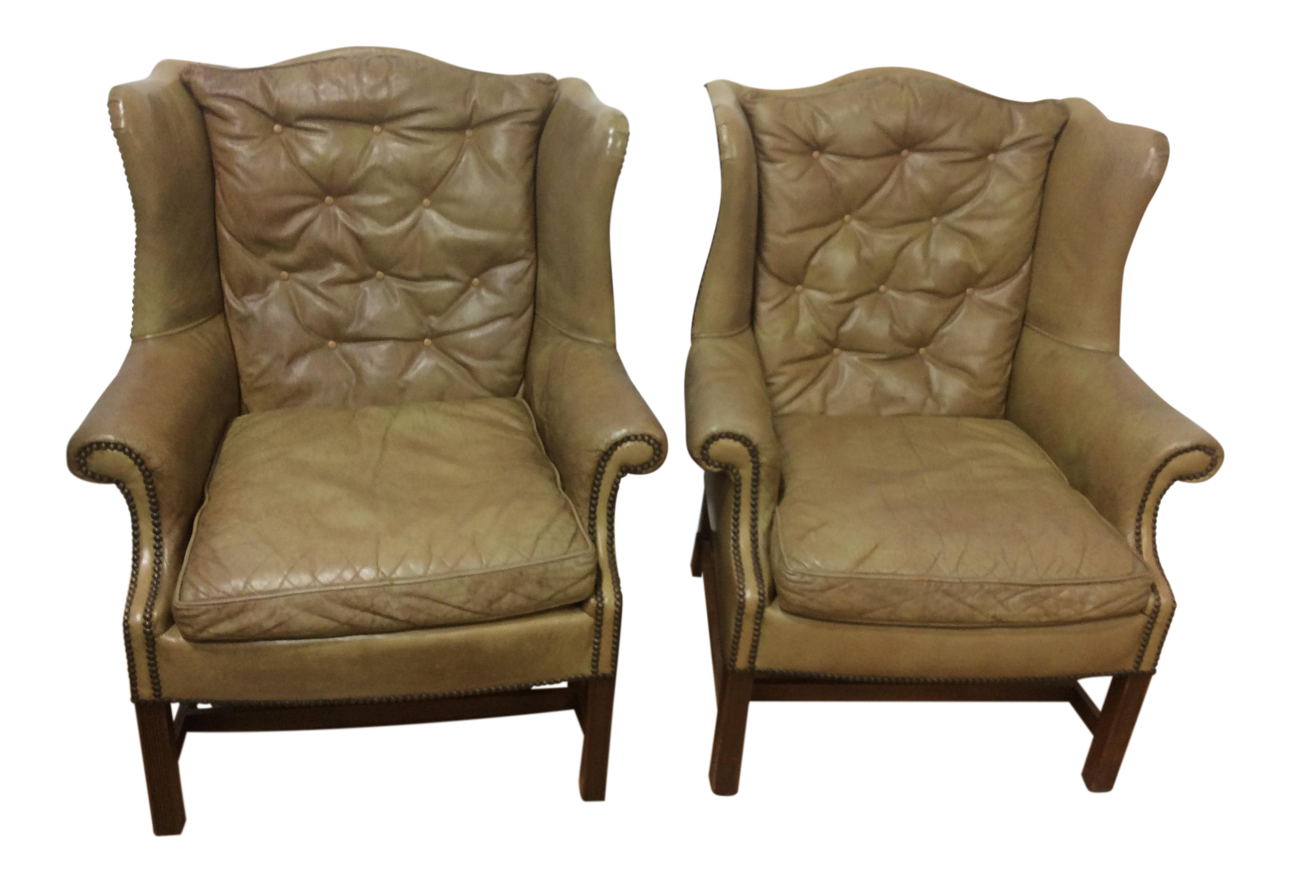 Leather Wingback Chairs  A Pair