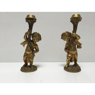 Antique French Cherub Bronze Dore Candlesticks - a Pair Preview