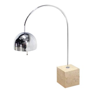 Vintage Mid Century Arco Marble Cube Base Chrome Table Lamp For Sale