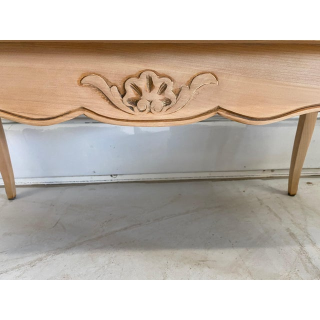 French Antique Coffee Table Louis XV Style With 2 Drawers Bleached For Sale - Image 4 of 11