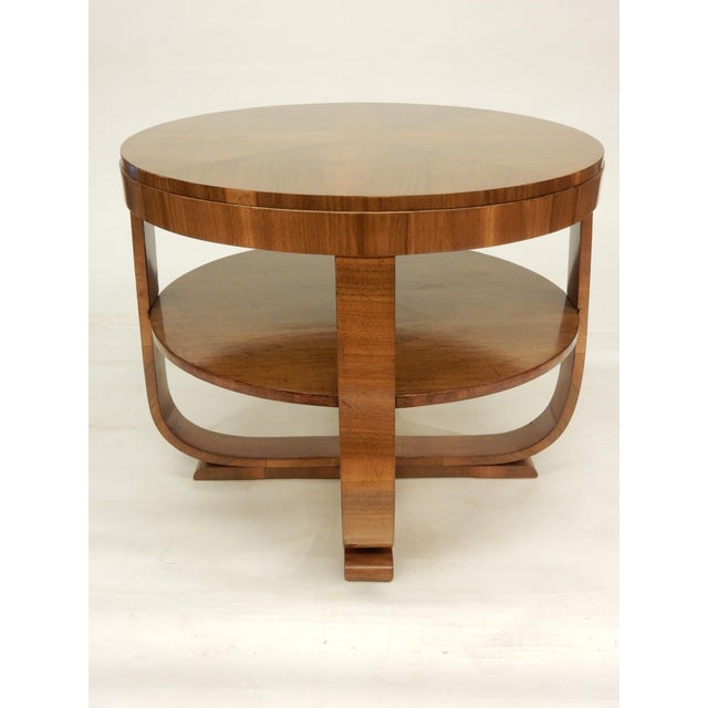 "Brown Art Deco 1930""s Round Walnut Table For Sale - Image 8 of 8"