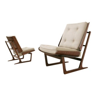 Pair of Danish Mid Century Armchairs by Grete Jalck in Teak and Cottone, 1950 For Sale