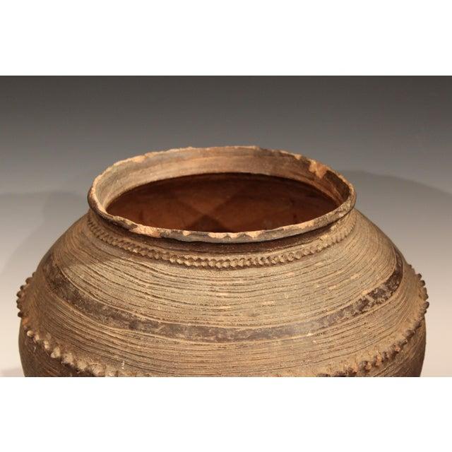 Ceramic Antique Nigerian African Terracotta Pottery Storage Jar Incised Geometric Vase For Sale - Image 7 of 9