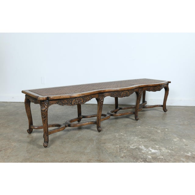 Italian Style Carved Wood Cane Seat Bench - Image 2 of 10