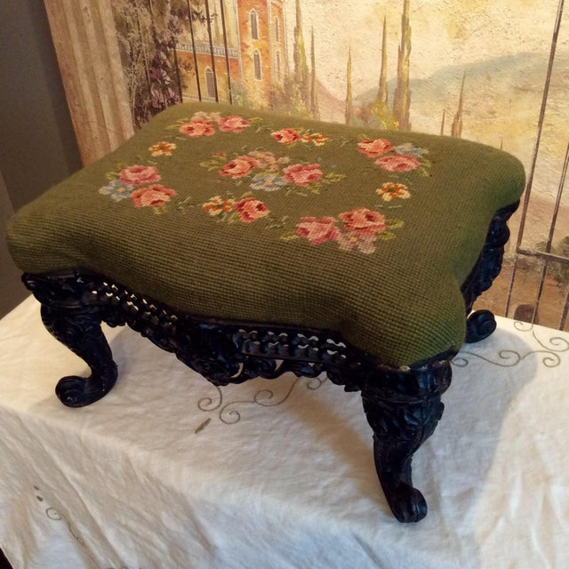 1930s Vintage Victorian Cast Iron Needlepoint Footstool For Sale - Image 12 of 12