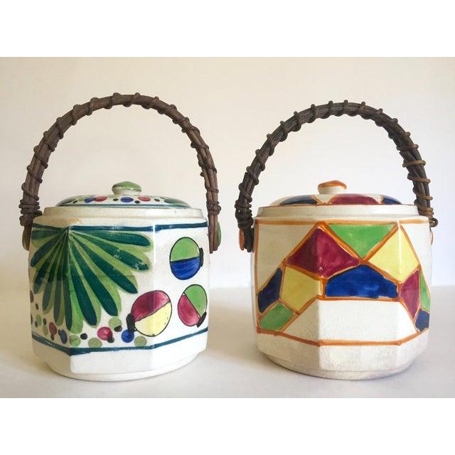 White Rare Vintage 1930's Art Deco Japan Hand Painted Porcelain Handled Ceramic Biscuit Barrel Jars - Set of 2 For Sale - Image 8 of 13