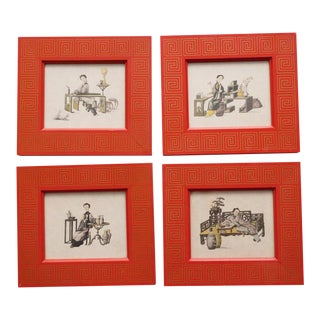 1950s Chinese Hand Colored Prints - Set of 4