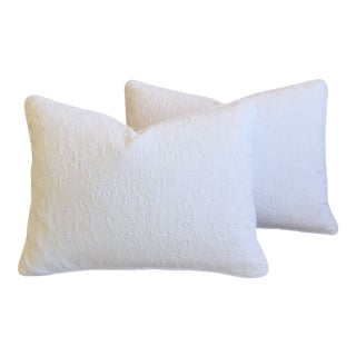 "French Provençal Quilted Feather/Down Pillows 23"" X 17"" - Pair For Sale"