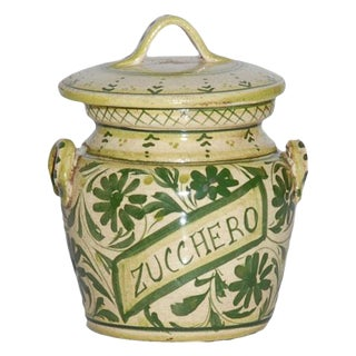 1990s Italian Hand Painted Ceramic Zucchero Canister For Sale