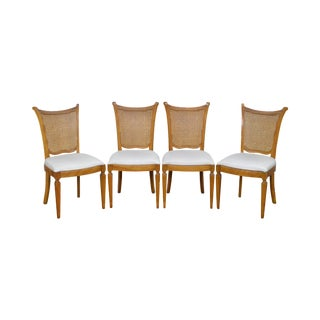 Regency Directoire Style Set of 4 Blond Cane Back Custom Dining Chairs