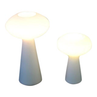 Mid-Century Modern Pair of White Glass Mushroom Table Lamps Lisa Johansson Pape