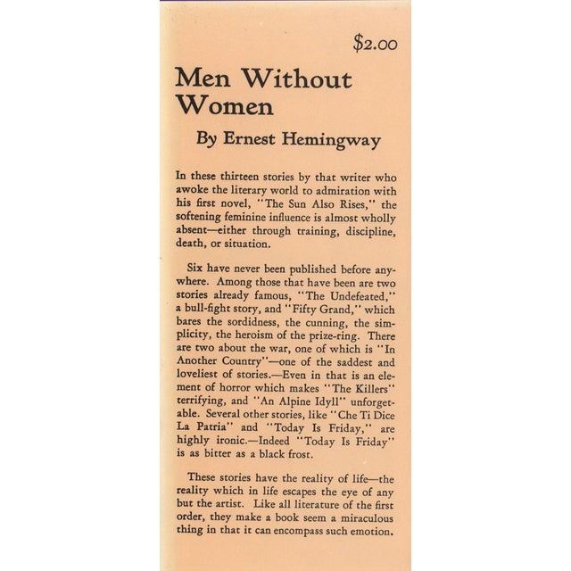 "Booth & Williams 1991 ""Facsimilie First Edition, Men Without Women"" Collectible Book For Sale - Image 4 of 5"