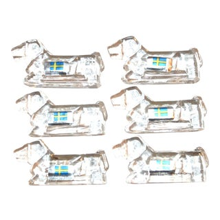 Swedish Crystal Dog Knife Rests - Set of 6
