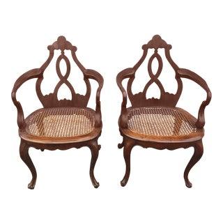 Antique Italian Renaissance Revival Arm Chairs a Pair For Sale