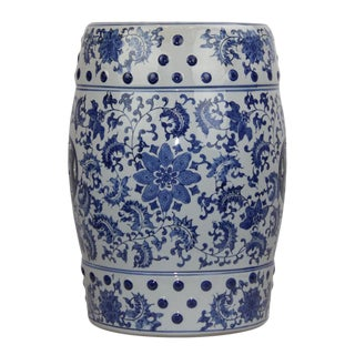 Modern Pasargad DC Modern Contemporary Floral Porcelain Garden Stool For Sale