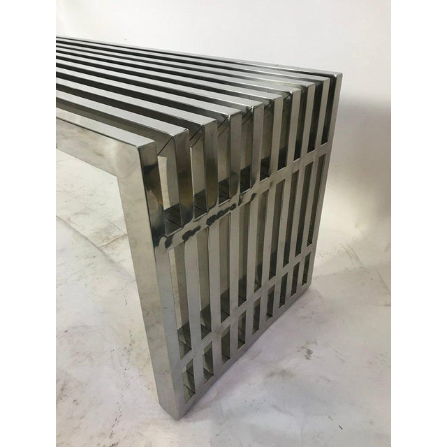 1970s Vintage Chrome Slat Bench / Coffee Table For Sale In Seattle - Image 6 of 8