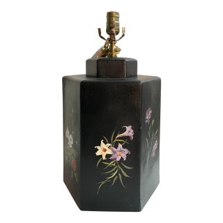 English Export Floral Designed Hexagonal Tea Caddy Lamp For Sale