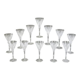 Set of 12 Baccarat Elbeuf Hand Blown Cut Crystal Water Goblets with Petal Foot For Sale