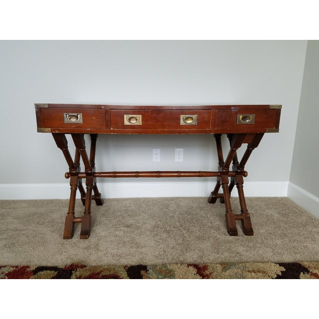 Campaign Style Double X Base Writing Desk - Image 2 of 11
