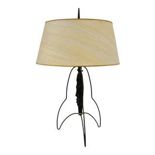 Mid-Century Modern Black Figural Bust Head Iron Table Lamp Attr. to Frederick Weinberg For Sale