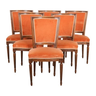 Set of Six French 19th Century Louis XVI-Style Walnut Sidechairs For Sale