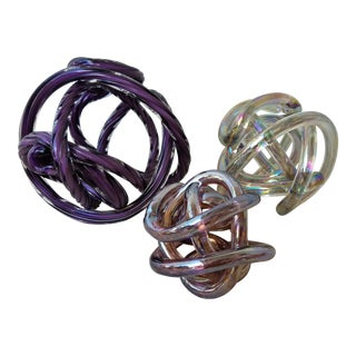 Ribbon Glass Spheres - Set of 3